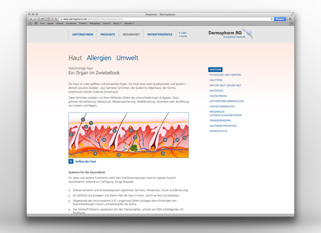 Dermapharm AG Website Editorial Haut